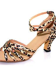 Non Customizable Women's/Kids' Dance Shoes Salsa Flocking Chunky Heel