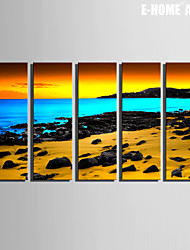 E-HOME® Stretched Canvas Art The Beach And Sunset Decorative Painting Set of 5