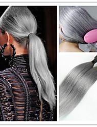 3pcs / lot atacado prata ombre retas virgem brasileiro 1b cabelo tecelagem cinza / cinza duas extensões de cabelo tom