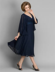 A-line Mother of the Bride Dress Tea-length 3/4 Length Sleeve Chiffon with Lace