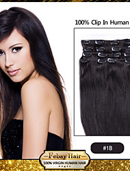 "18"" Natural Black (#1B) clip in remy human hair extensions"