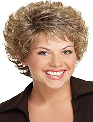 Women Lady Short Synthetic Hair Wigs Pixie Cut wig Short Wavy Hair Brown with Blonde Highlights Wig