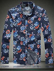 Men's New  long Sleeved Denim Floral Shirt 5XL