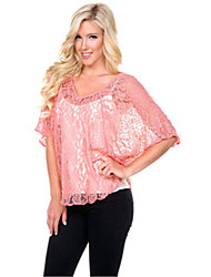 Women's Vinga Sexy Casual Lace Work ½ Length Sleeve Blouse , Lace