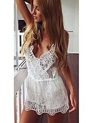 Women's Solid White Dress , Sexy V Neck Sleeveless