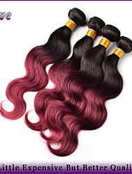 "4pcs / lot 10 ""-26"" ombre Menschenhaarverlängerungen t1b / bordeaux malaysische reine Haarkörperwelle Haarbündel beste Qualität"
