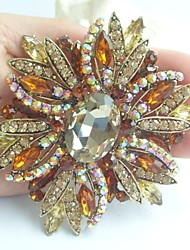 Gorgeous 3.94 Inch Gold-tone Topaz Rhinestone Crystal Flower Brooch Art Deco