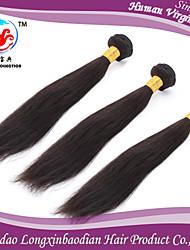 Trama dei capelli umani remy briazilian vergine 100% seta di vendita 3 fasci 6a caldo colore naturale diritto