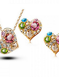 May Polly  Austria Crystal Diamond Heart Necklace Earrings Set