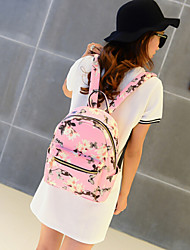 Women Backpack Sports & Leisure Bag School Bag PU All Seasons Casual Sports Outdoor Zipper White Black Blushing Pink