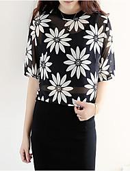 Damen Bluse  -  Blume Gitter Langarm Rundhalsausschnitt