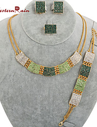 WesternRain Bright Green gold plated Necklace Set Fashion Young Lady Accessories Nice Women Costume Fashion Jewelry Set