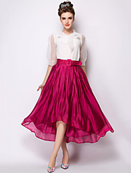 GUMUXI®Women's Casual/Work/Maxi/Plus Sizes Asymmetrical Stepped Hem High waist Skirts, Polyester Micro-elastic