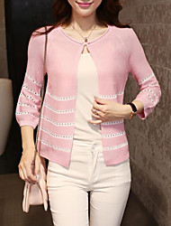 Women's Casual ¾ Sleeve Cardigan , Knitwear Thin