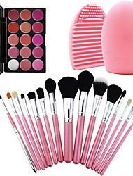 15Pcs Pro Cosmetic Make Up Brush Set Lipbrush Superior Soft+Gorgeous Lipsticks Lip Gloss+ Washing Brush Clean Tool Glove