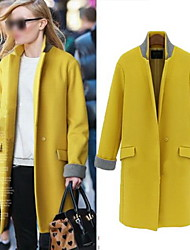 Women's Stand Coats & Jackets , Tweed Casual/Work Long Sleeve Herra