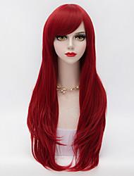 70cm el pelo rizado largo en capas con vino Bang lado rojo mujeres lolita harajuku sintético resistente al calor peluca
