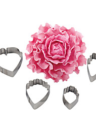 FOUR-C 4pcs Stainless Steel Heart Peony Flower Biscuit Cake Cookie Cutters Baking Mould Cookie Fondant Decorating Tools