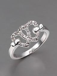 senhora vestido S925 prateado coração duplo anel de declaração de design