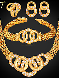 U7® Women's 18K Real Gold Plated Brilliant Cut Crystal Popcorn Chain Bracelet Necklace Ring Earrings Bridal Jewelry Set