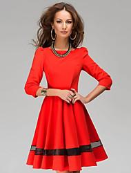 Women's Patchwork Red/Beige Dress , Vintage/Casual/Work Bateau ¾ Sleeve Mesh