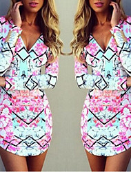 Women's V-Neck Fashion Dresses ,  Bodycon/Print Long Sleeve Estelle
