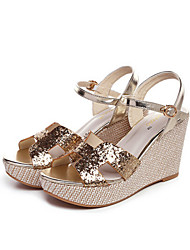 Women's Shoes Glitter Wedge Heel Wedges Sandals Outdoor/Dress Silver/Gold