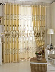 (One Panel) Grommet Top Polyester Cotton Blend Hollow Jacquard Modern Faint Yellow Fabric Curtain Drapes