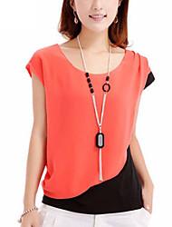 Damen Solide Einfach Lässig/Alltäglich Bluse,Rundhalsausschnitt Sommer Kurzarm Blau / Rot / Orange Polyester Dünn