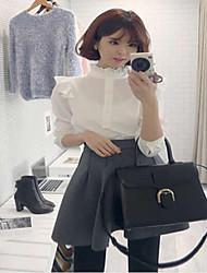 Women's Solid White Shirt , Stand Long Sleeve Ruffle