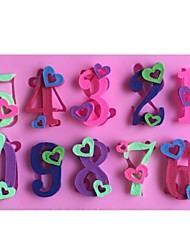 Heart Numbers 0-9 Shaped Fondant Cake Chocolate Silicone Mold Mould,Decoration Tools Bakeware