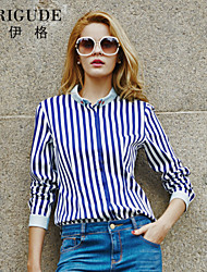 Veri Gude Women Striped Patchwork Shirt Button-down Blouse Hidden Buttons Contrast Color
