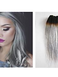 """3pcs / lot graue Haar Einschlagkörperwelle 8 """"-34"""" brasilianisches Menschenhaar grau Haarverlängerungen natürliches Menschenhaar spinnt"""