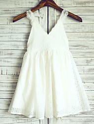 A-line Knee-length Flower Girl Dress - Lace / Satin Sleeveless Straps with