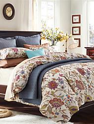 H&C Long Staple Cotton 1000TC Duvet Cover Set 4-Piece Flowers Pattern MT12-002