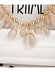 Korean Fashion Retro Opal Necklace Cute/Casual Gold Plated/Gemstone & Crystal Pendant Necklace