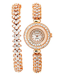 Vodoy®Lady's Watch Rhinestone-encrusted BraceletFemaleTable Two Laps Heart Shape Bracelet Table  Adjustable Length