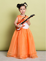 A-line Floor-length Flower Girl Dress - Organza Scoop with Flower(s)