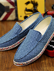 Men's Shoes Casual Canvas Loafers Blue/White/Gray