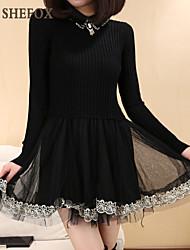 Women's Casual/Lace Long Sleeve Dress , Lace/Knitwear Medium SF8B10