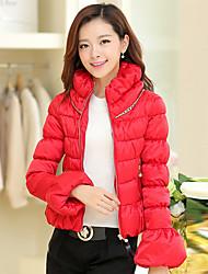 Women's Long Sleeve Parka Coat , Casual/Cute Organza