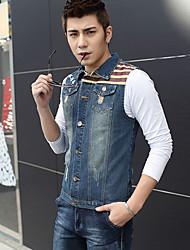 Men's Sleeveless Top , Cotton/Denim Casual