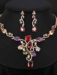 Luxurious Grandeur Multicolor Crystal Necklace Earring Jewelry Sets For Women Fashion Party Accessories