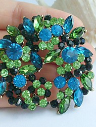 2.17 Inch Gold-tone Blue Green Rhinestone Crystal Flower Brooch Pendant Art Decorations