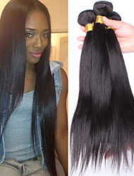 """3pcs / lot 10 """"-30"""" brésilien cheveux Humaines vierge Droites les extensions des cheveux noirs les tissages des cheveux"""