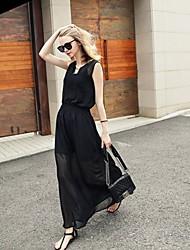 Women's Black Dress , Casual Crew Neck Sleeveless