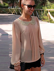 Women's Round Chiffon Sexy/Casual/Party/Work Long Sleeve Phylomeya
