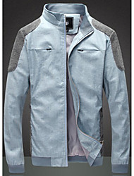 Men's Stand Coats & Jackets , Cotton Blend Long Sleeve Casual H2o