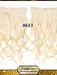 24inch 60cm de couleur 120g 613 # clip sur les extensions de cheveux ondulés clip sur postiches