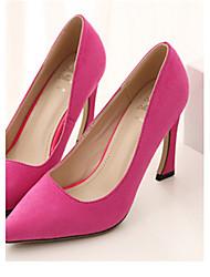 Scarpe Donna Finto camoscio A rocchetto A punta Scarpe col tacco Casual Nero/Rosa/Borgogna